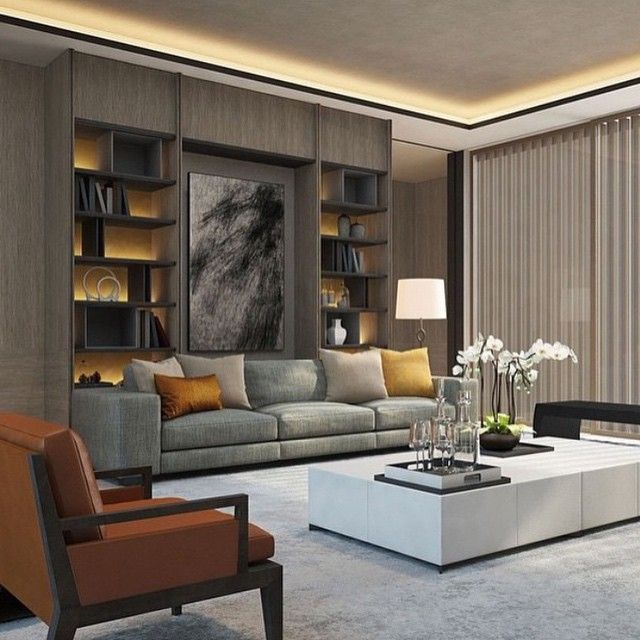 Weakness for gray!! The wall unit\u0027s veneer color is amazing LIVING