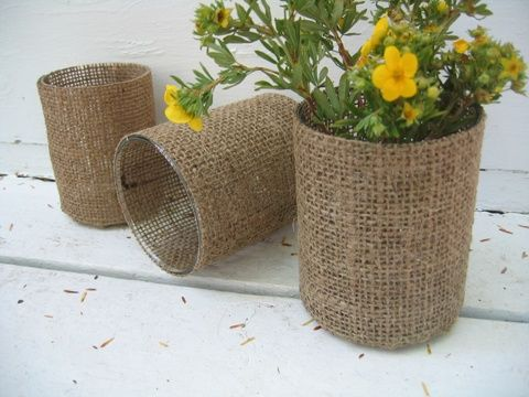 cover plastic liners with burlap