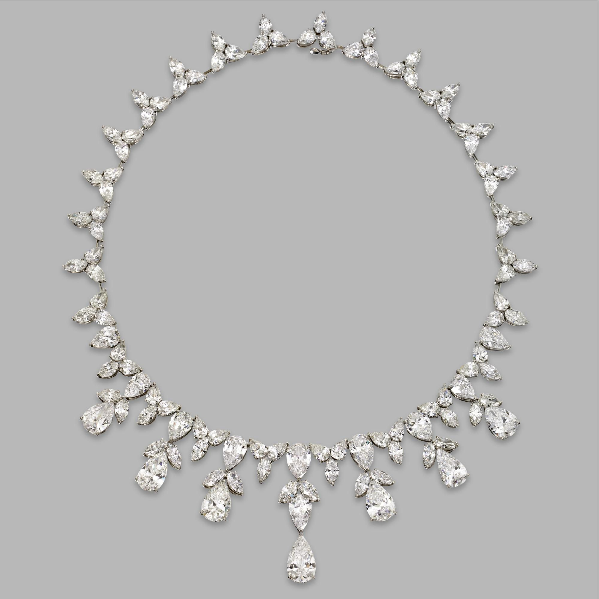 Diamond necklace the flexible necklace of foliate design set with