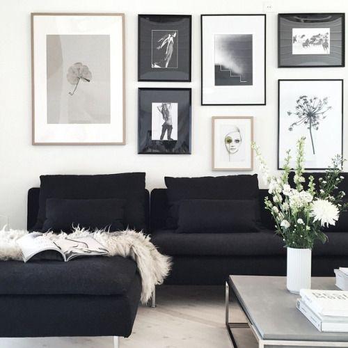 Wandstreichen möglich, aber am besten mit hellen Bildern über dem - wohnzimmer dekorieren schwarz