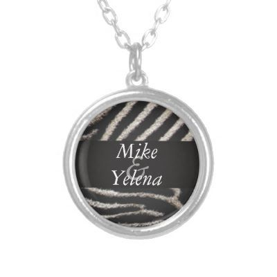"Zebra Print Jewelry  Keep your favorite image, design, or words of inspiration close your heart with this beautiful round custom sterling silver plated necklace. Complete with a 18"" sterling silver-plated chain (2"" extender) and lobster claw clasp, this necklace is finished with a UV resistant and waterproof coating to protect your imagery for years to come. The necklace arrives in a special black felt bag that is perfect for gifting.  #zebraprint #necklace #zazzle #custom"