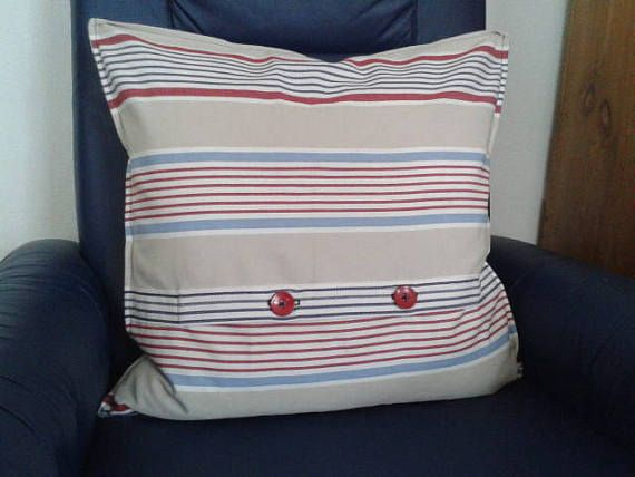 Square Pillow With Red Trim Buttons Pillowcase Coating 50