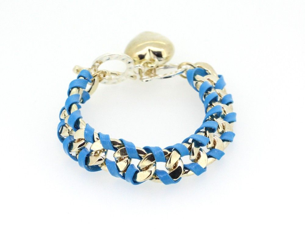 Korean Stylish Lady Love Pendant Designed Handmaking Alloy and Leather Rope Blue Charming Woven Bracelets for Girls