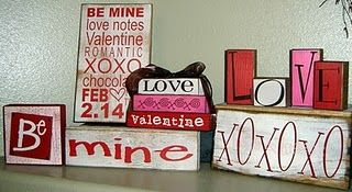 Assorted Valentines Blocks-- could do this for any holiday
