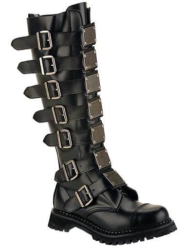 95247ce34de5 Demonia - Reaper 30 - Knee Boots w Buckles   Metal Plates  Reaper-30 ...