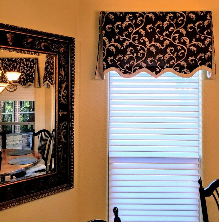 Board mounted valance with scalloped hem and contrast