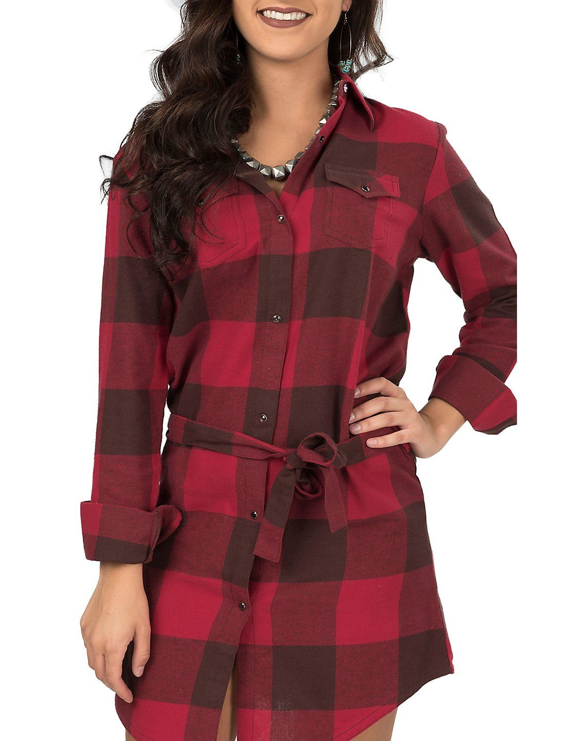 Womens Red Plaid Flannel Shirt  aa07232181