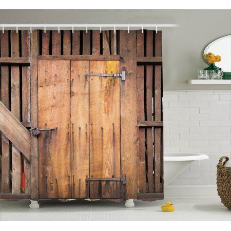 Rustic Decor Shower Curtain Set Dated Simple Door Like In