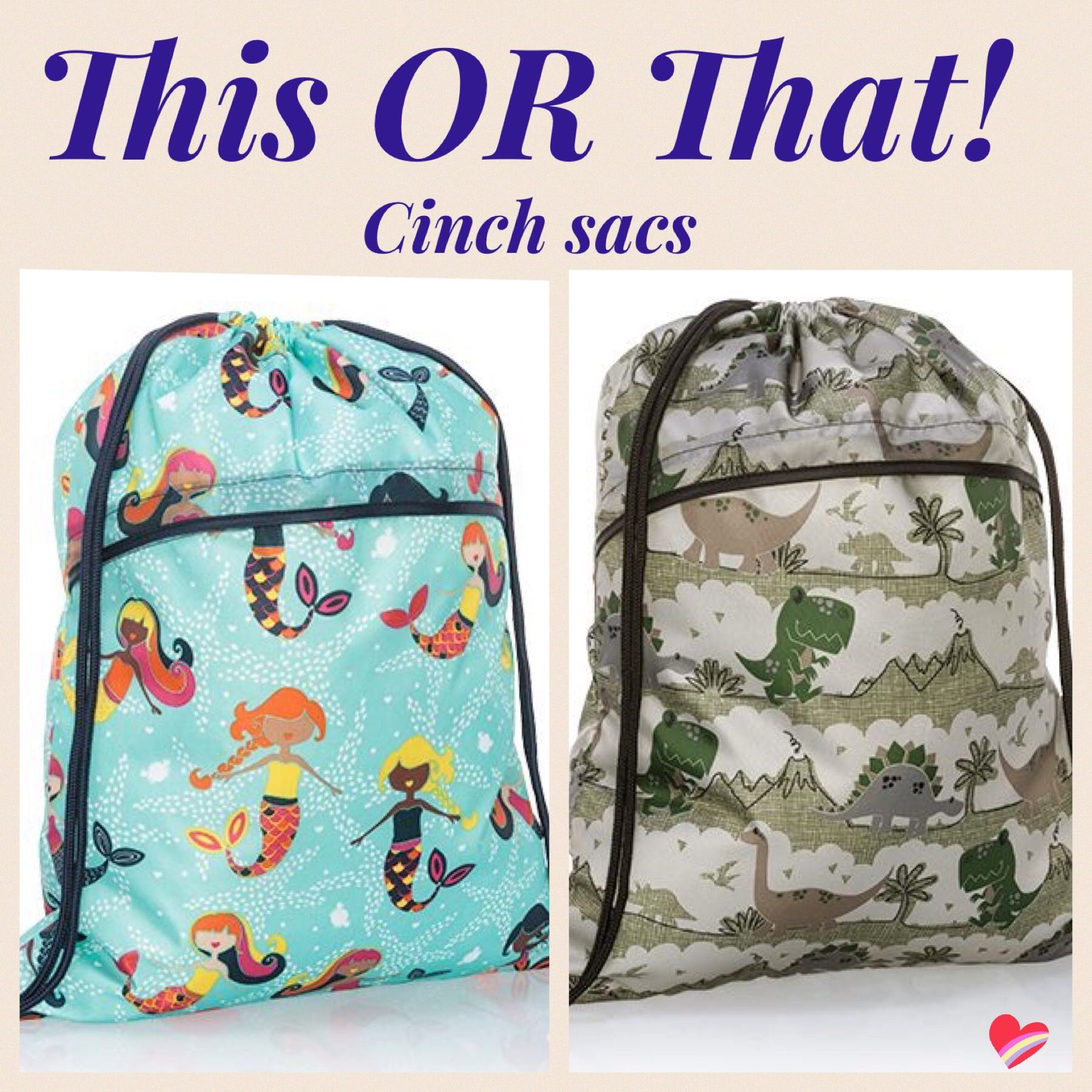 d075ee679956 Dino parade and mermaid cinch sacs from Thirty-One Summer Guide ...