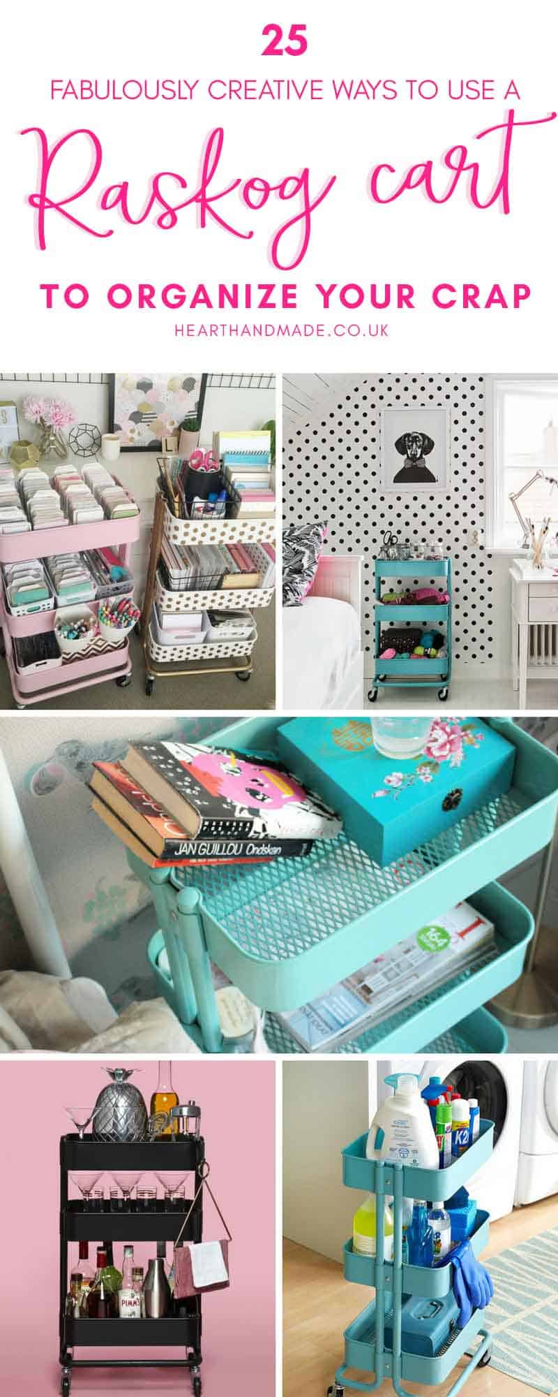 Are you trying to decide whether or not you want to buy a Raskog cart from Ikea? I love this cleaning cart organizing hack! There are so many excellent ways to organize using a Raskog cart & you can see 25 awesome ways to organize kitchen, organize bedroom or any room in your house! My favourite way to use a Raskog cart is to organize art supplies. #organize #organizing #homedecor #homedecorideas #ikea #ikeaideas #hhmuk