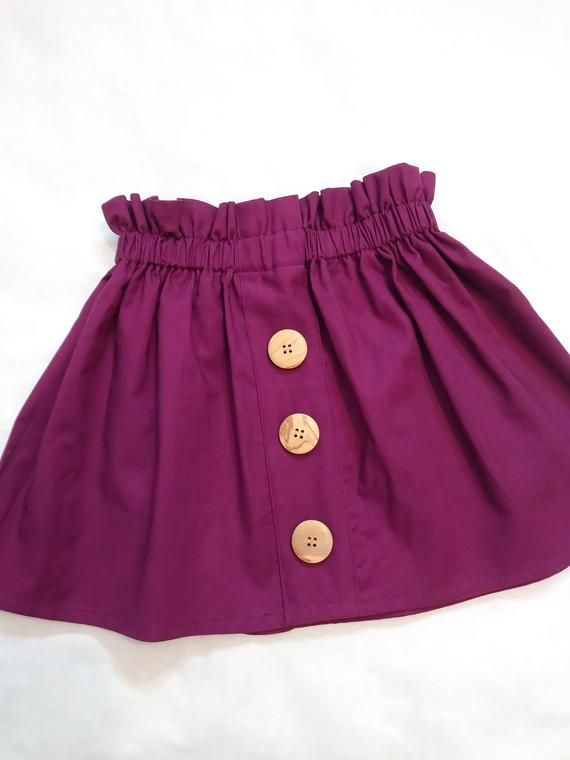 Girls Fall Skirt, High Waisted, Paperbag Waist, Vintage Style, Toddler Skirt, Plum Skirt, Fall Photo Shoot, 3 Button Skirt, Eggplant Skirt
