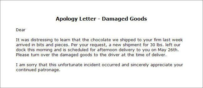 Apology Letter  Damaged Goods  Apology Letter Templates