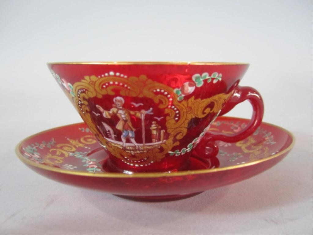 H70-8  FRENCH ART GLASS CUP  SAUCER