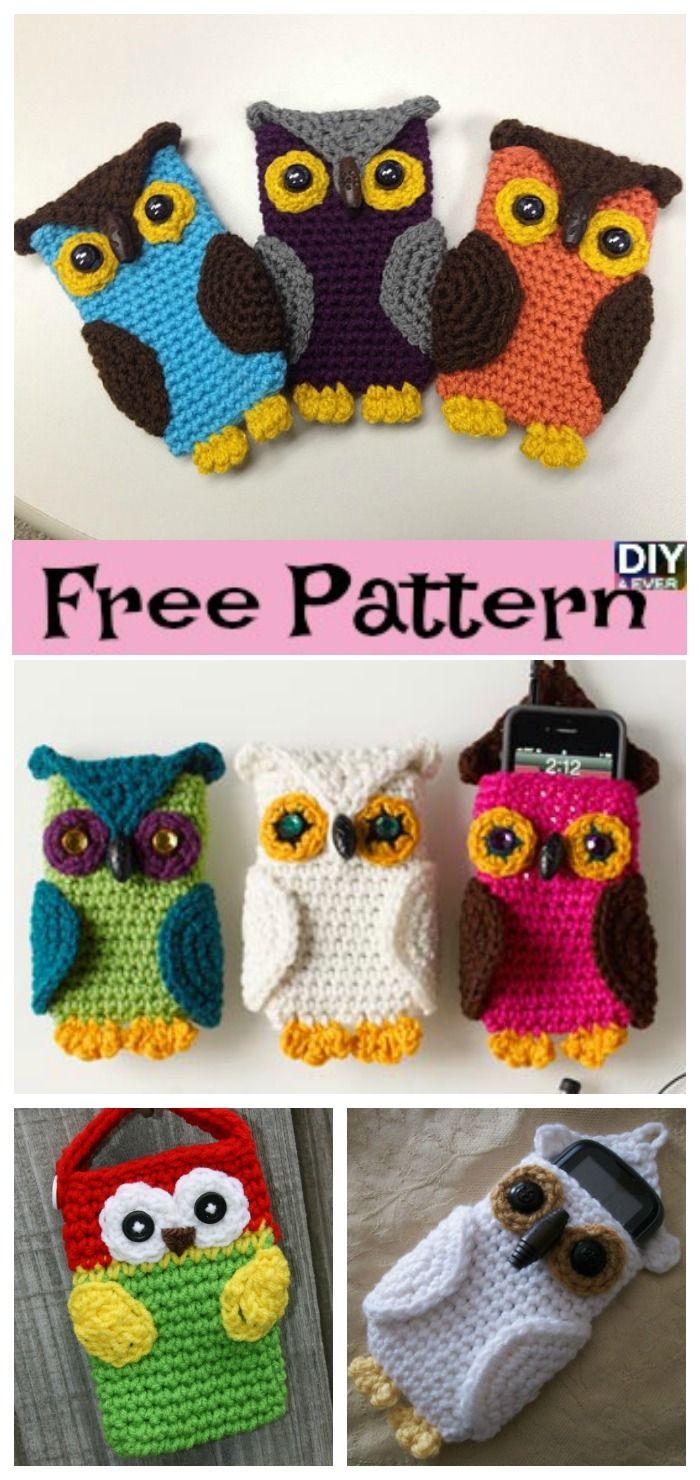 Crochet Owl Cell Phone Cozy -Free Pattern | Häkeln, Handytasche und Eule