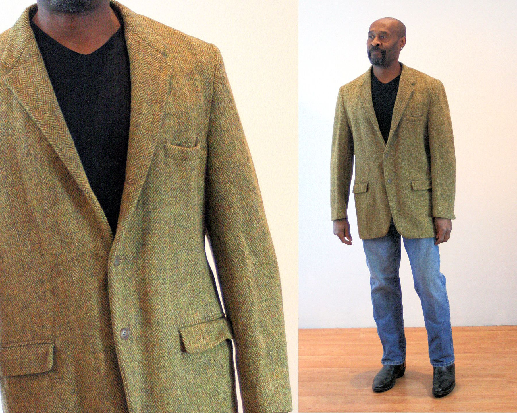 60s Harris Tweed Jacket 42 L Light Green Herringbone Scottish Etsy Harris Tweed Jacket Tweed Jacket Harris Tweed