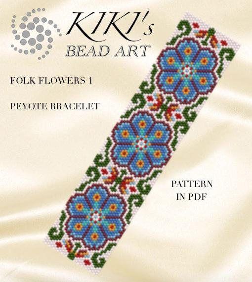 Pattern, peyote bracelet Folk flowers -floral patterned peyote ...