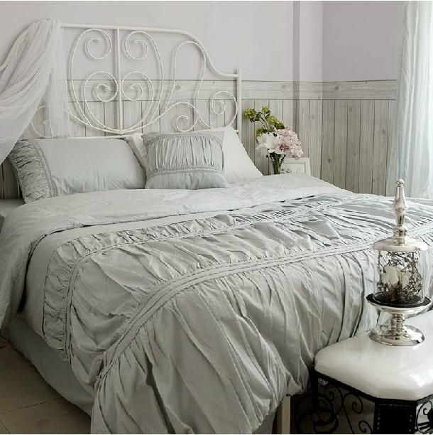 Wholesale Bed In A Bag Buy Vintage Cotton Solid Color White - Blue solid color king size comforter