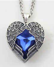 Sumni Retro Vintage Fashion Heart Blue Crystal Angel Wing Pendant Long Necklace