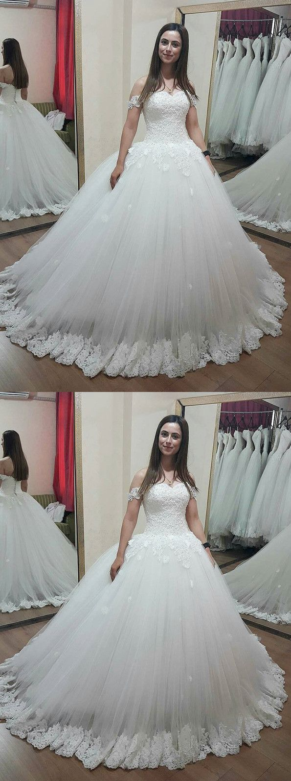 Charming lace sweetheart off shoulder tulle wedding dresses ball