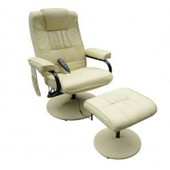 Homcom Reclining Massage Chair With Footstool Cream Recliner Chair Beauty Couch Furniture