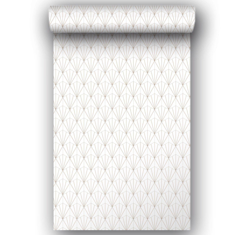 ba48f6e81c9 Papier peint vinyle Motif geo blanc or
