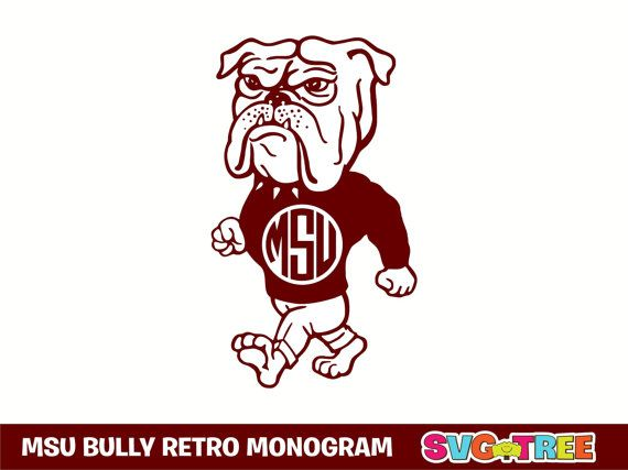 Mississippi State Bulldogs Bully Monogram Svg Dxf By Svgtree Silhouette Cameo Crafts Applique Monogram Mississippi State
