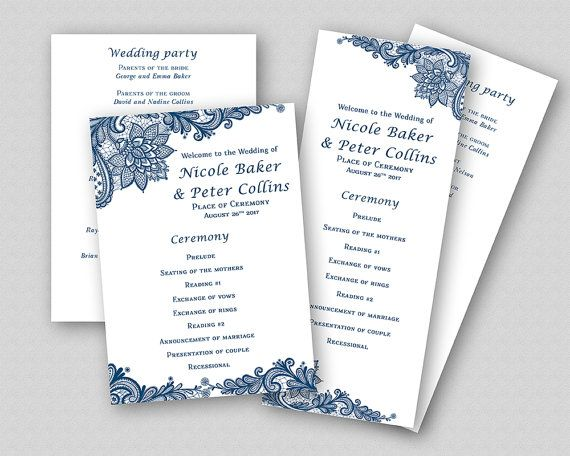 Printable Wedding Ceremony Program Template, Blue Wedding Program - church program