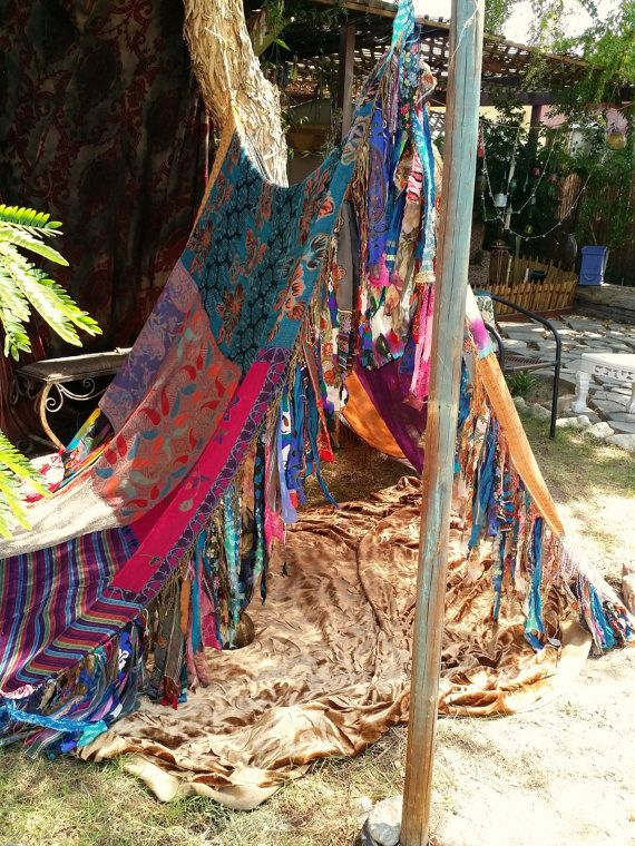 Boho tent teepee meditation vintage scarves Gypsy patchwork fringe bed canopy HippieWild gl&ing photo prop curtain : hippie bed canopy - memphite.com
