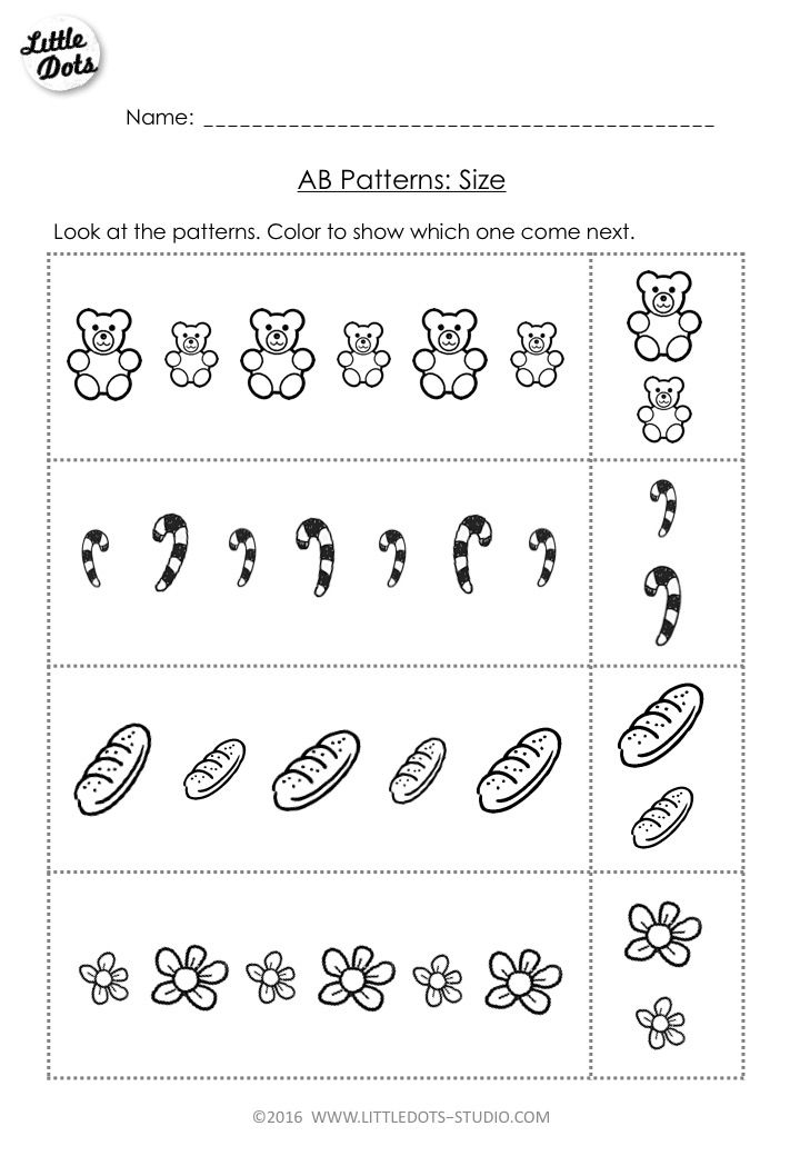 Free AB Pattern Worksheet for PreK. Color the pictures