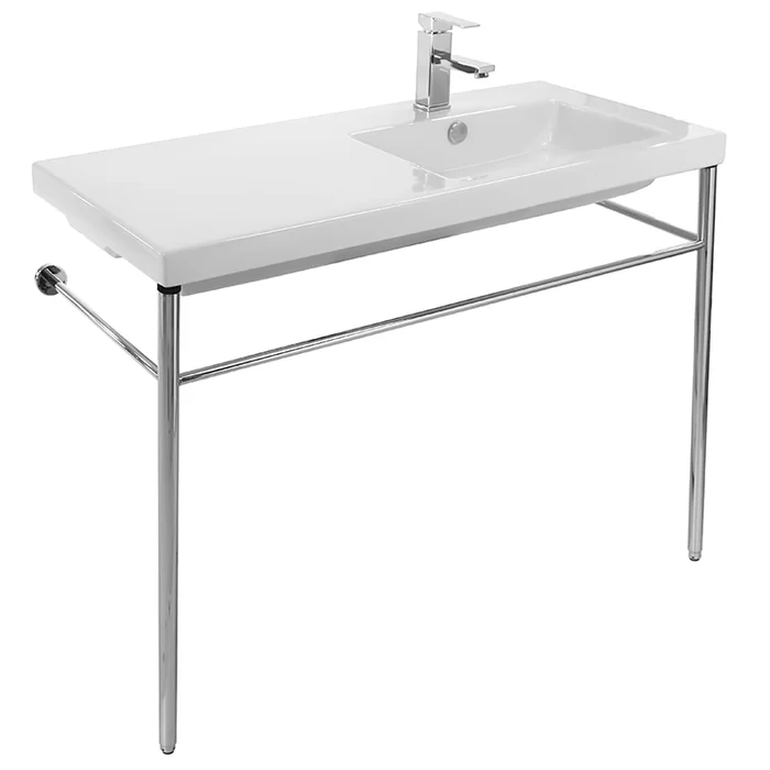Condal 40 White Ceramic Rectangular Console Bathroom Sink With Overflow Console Sink Bathroom Console Rectangular Sink Bathroom