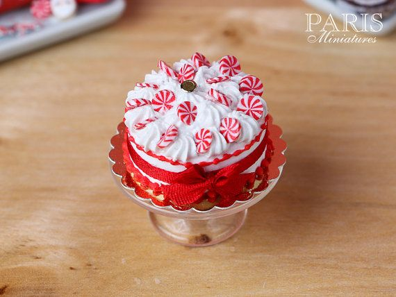 Christmas Cream Cake Decorated with Seasonal by ParisMiniatures
