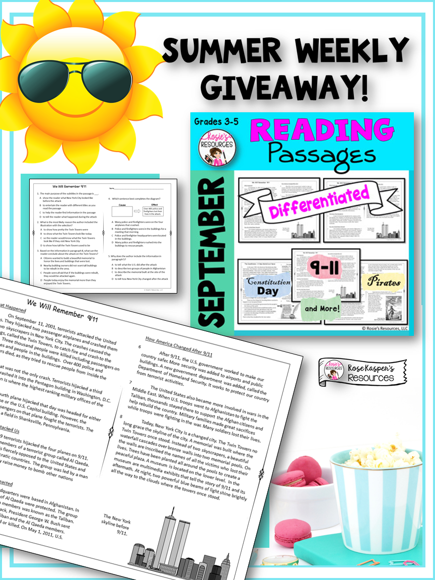 Summer Giveaway Every Week Third Grade Lessons Differentiated Reading Passages Differentiated Reading [ 1152 x 864 Pixel ]