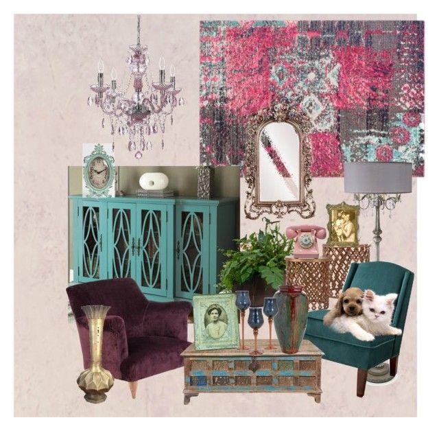 """A BOHEMIAN TOUCH..."" by kskafida on Polyvore featuring interior, interiors, interior design, home, home decor, interior decorating, Safavieh, Dot & Bo, Howard Elliott and Threshold"