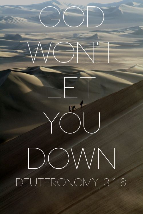 """""""Be strong. Take courage. Don't be intimidated. Don't give them a second thought because God, your God, is striding ahead of you. He's right there with you. He won't let you down; he won't leave you."""" (Deuteronomy 31:6)"""