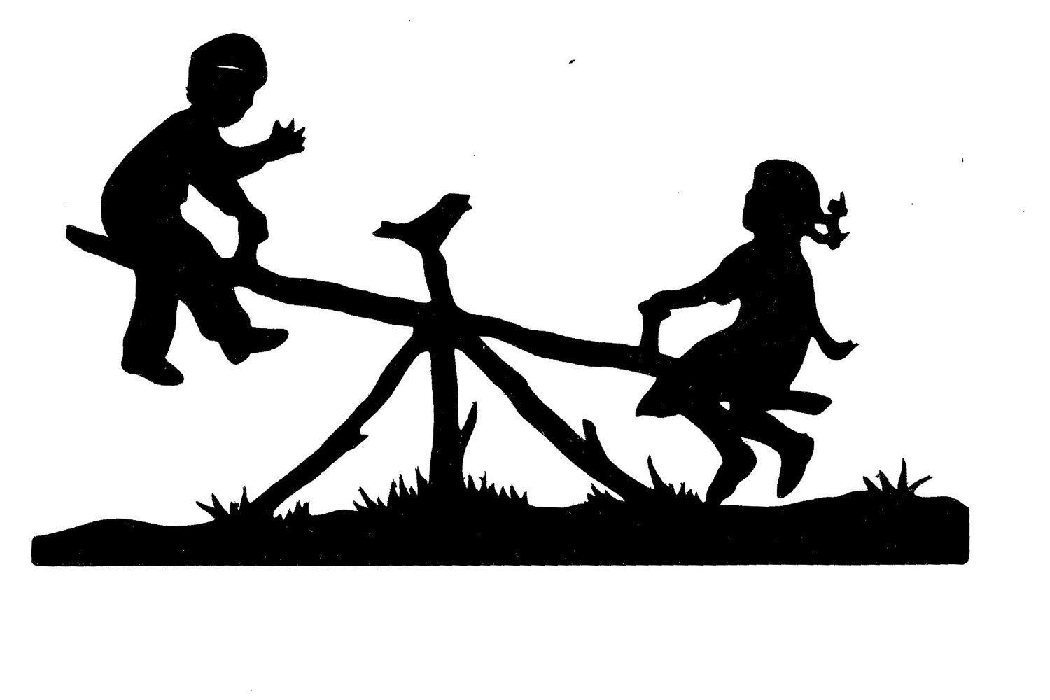 New Design See Saw Child Silhouette Cut For