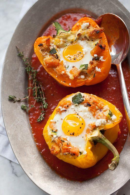 baked egg peppers / foodiecrush #bellpepperrecipes