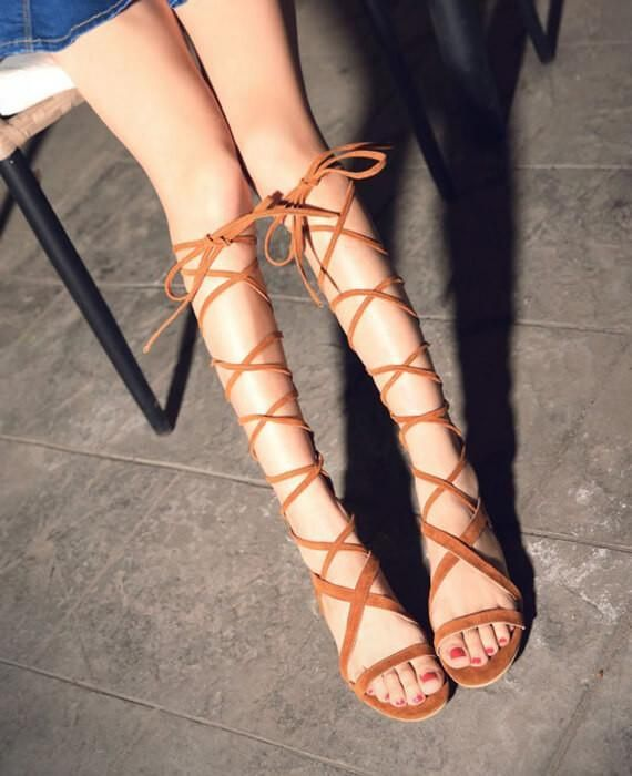 Bandage Lace Up Knee High Sandals Boots #highsandals