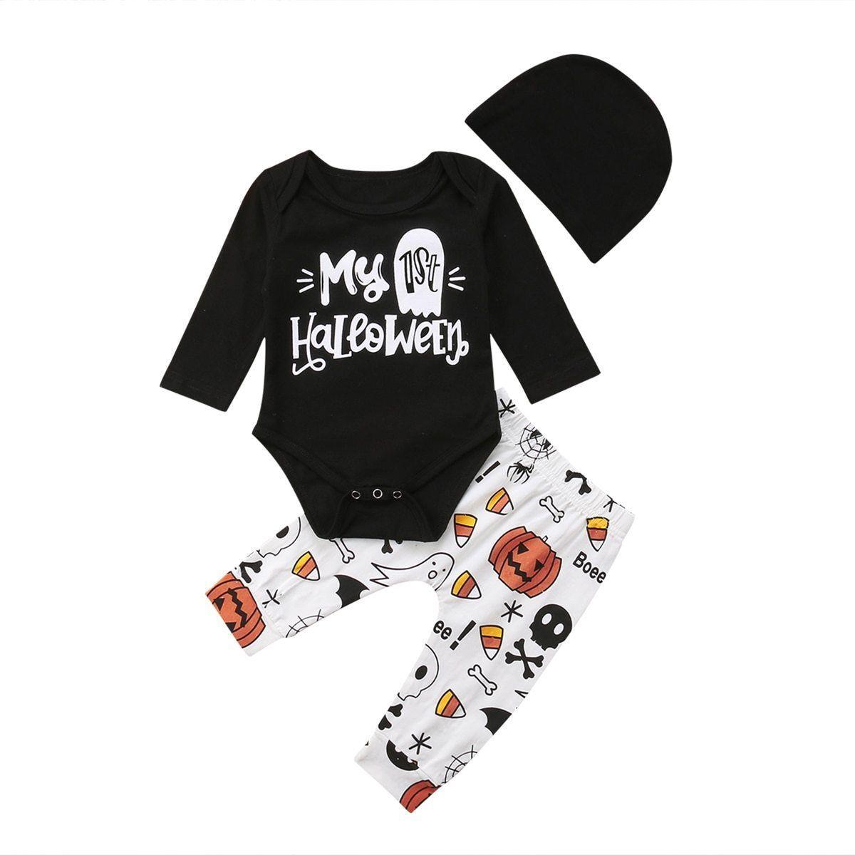 1a2c36f68 2018 Halloween Newborn Infant Baby Girl Boy Pumpkin Black Bodysuit ...