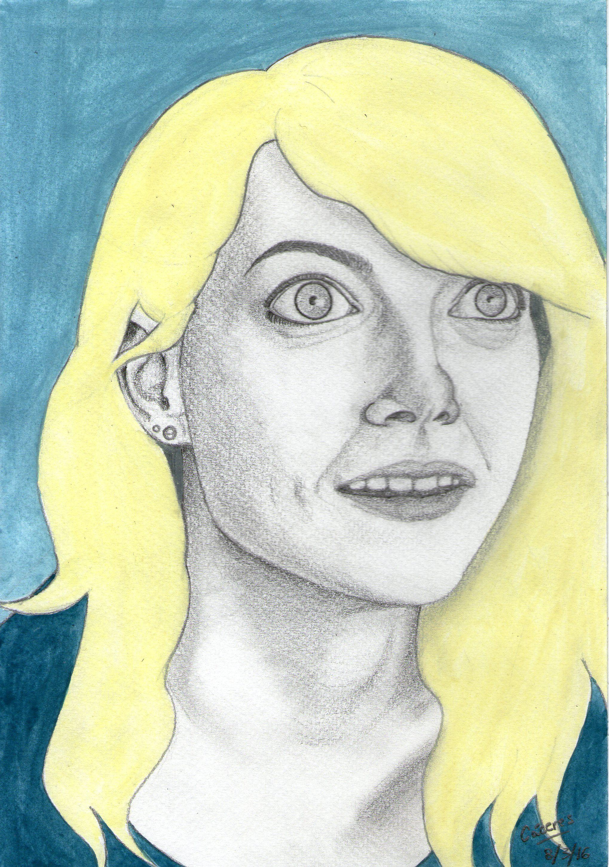 Retrato de Emma Stone en Birdman. 17,5 x 25 cm. Lápiz y acuarelas por @EvangeCaceres