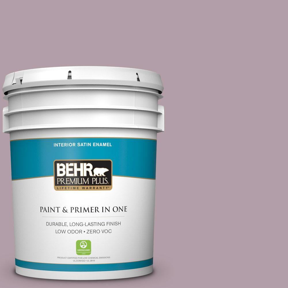 BEHR Premium Plus 5-gal. #pmd-34 Wild Lilac Zero VOC Satin Enamel Interior Paint