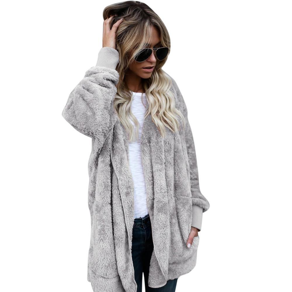 Women Hooded Long Coat Jacket Hoodies Parka Outwear