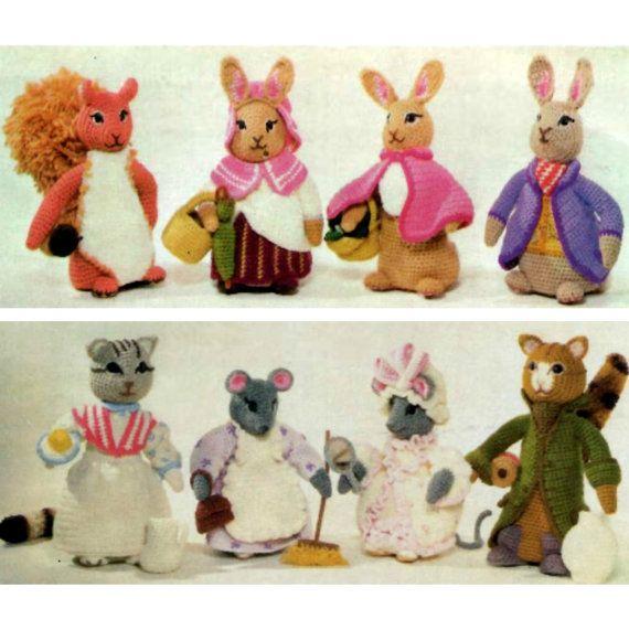 Beatrix Potter Peter Rabbit toy vintage KNITTING PATTERN