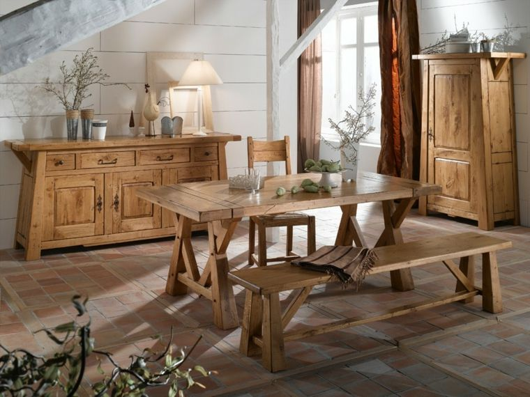 Mesas de madera acento rustico comedor banco madera natural ...