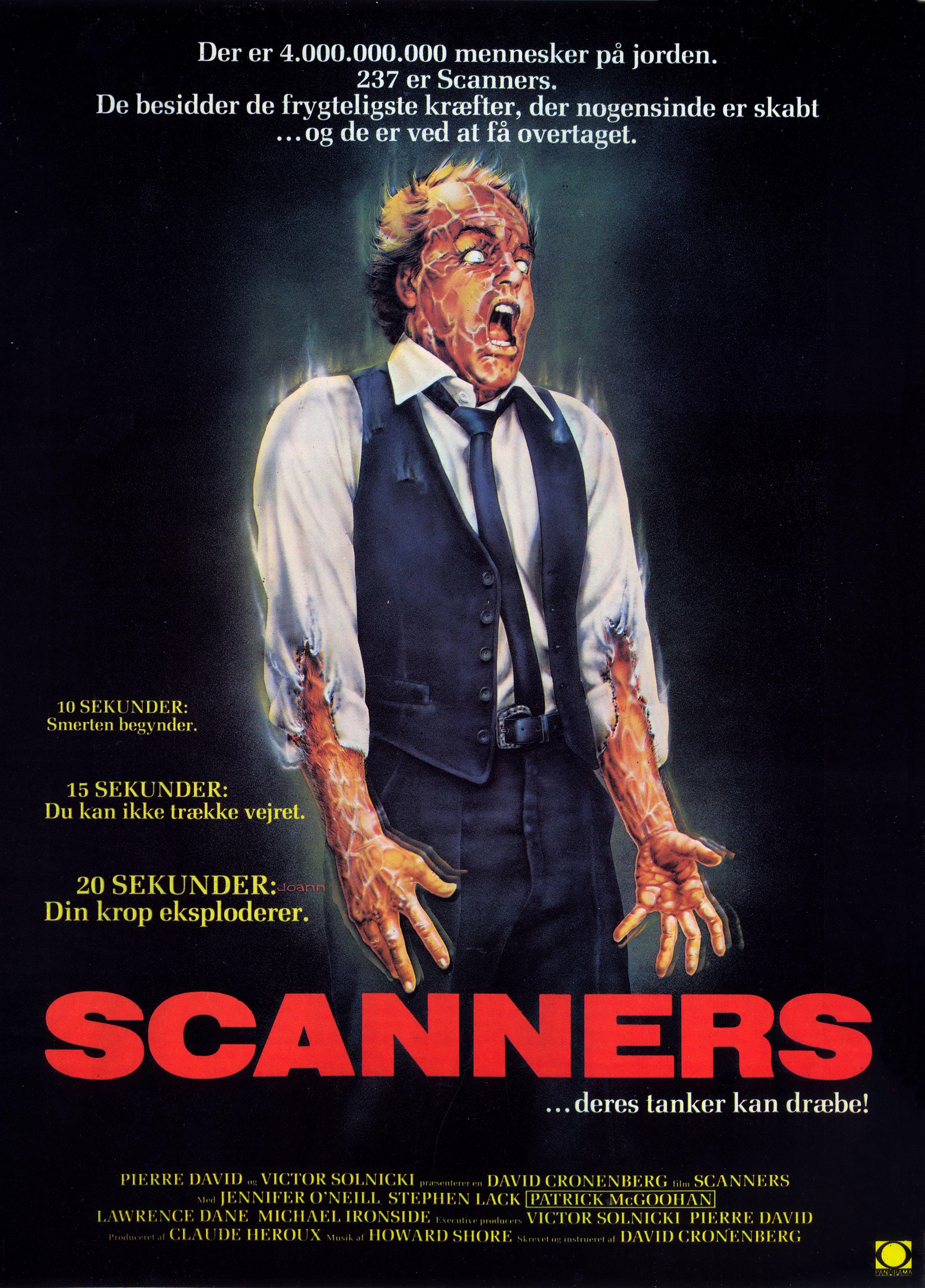 Scanners 1981 Danish Poster Cartazes De Filmes Classicos Filmes Trash Cartazes De Filmes De Terror