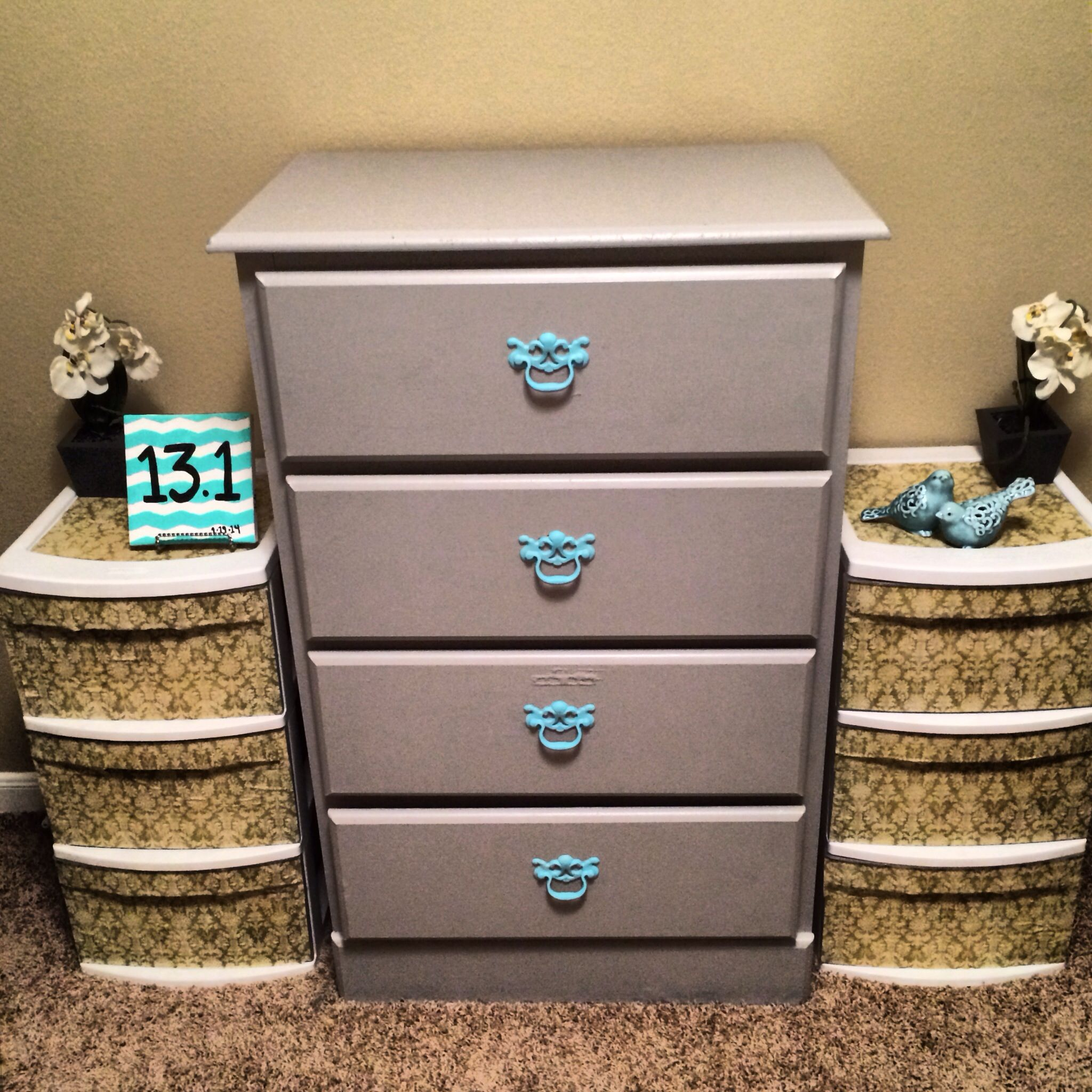 Modpodge Plastic Containers And Painted Old Dresser Newlook Makeover Can Even Add Pull Tab Plastic Storage Drawers Plastic Drawer Makeover Craft Room Storage