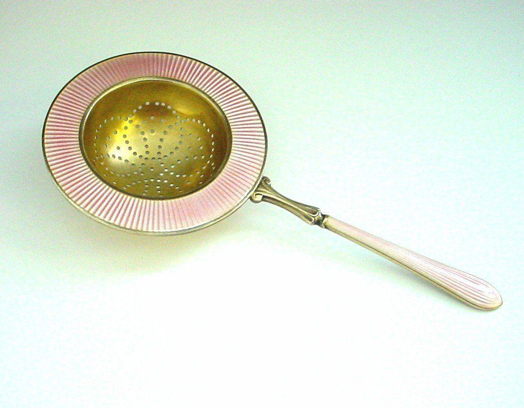 Marius Hammer Pink Enamel Sterling Silver Tea Strainer