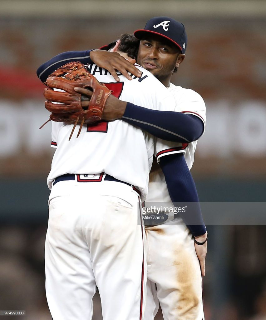 Second Baseman Ozzie Albies Of The Atlanta Braves Hugs Shortstop Atlanta Braves Braves Braves Baseball