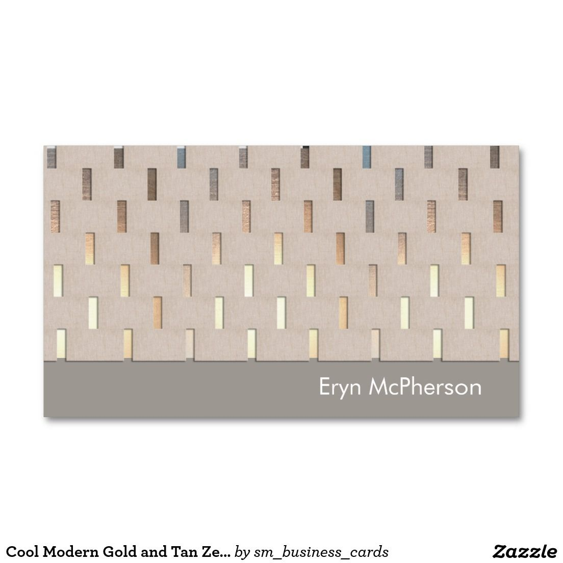 Cool Modern Gold and Tan Zen Pattern Double-Sided Standard Business Cards (Pack Of 100)