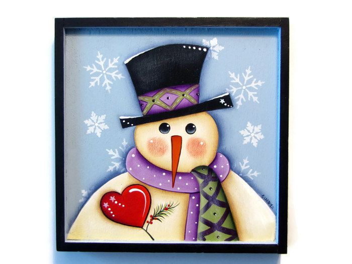 Snowman With Heart On A Framed Plaque Handpainted Wood Hand