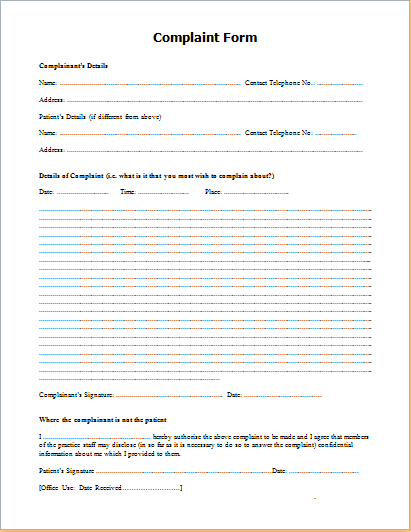 Patient Complaint Form  For Work    Template
